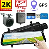 GPS 10 inch Mirror Dash Cam Backup Camera Full Touch Screen Video Streaming Mirror Camera 2K Front and 1080P Rear View Camera 32GB SD Card Included 1 Year Warranty mysmile