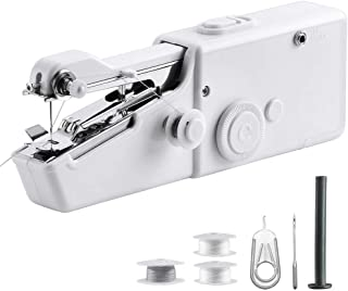 Portable Sewing Machine Handheld - Mini Hand Sewing Machine for Kids Beginners Home or Travel Sewing - Cordless Small Handy Stitch Handheld Sewing Machine for Easy Quick Repairs Fabric Leather Denim