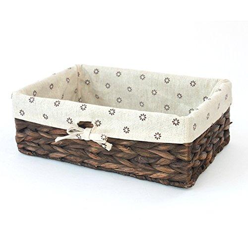 KINGWILLOW Storage Basket Natural Water Hyacinth Storage Bins Rectangular BasketArts and Crafts