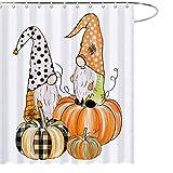 Maezap Herbst Kürbis Zwerge Duschvorhang Bauernhaus Herbst Badezimmer Dekor Wasserdicht Polyester mit Haken 175,9 x 177,8 cm