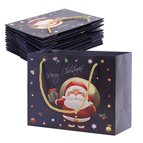 10Pcs Sacchetti di carta stile natalizio con manici Sacchetti regalo portatili Sacchetti per bomboniere natalizie Sacchetti per avvolgere Sacchetti per la spesa Sacchetti regalo per feste con glitter