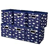 HSDT 6 cajas de almacenamiento, 27x27x28cm, tela azul oscuro, canasta de almacenamiento plegable, con 2 asas de metal, compatible con el administrador de cubos, QY-SC11-6