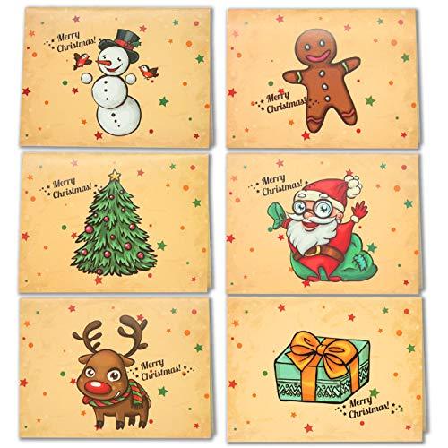 LEHOUR 30 PC Cartoline di Natale allegre Cartoline di Babbo Natale con buste e adesivi per le vacanze natalizie (Babbo)