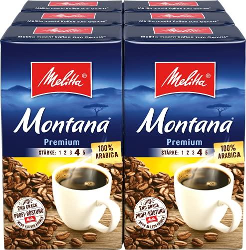 Melitta Gemahlener Röstkaffee, Filterkaffee, 100% Arabica, kräftig-feiner Geschmack, Stärke 4, Montana Premium, 6er Pack (6 x 500 g)