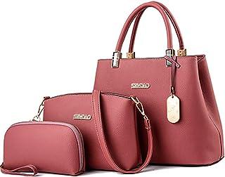 Shoulder Bag Women Fashion Leather Handbag+Shoulder Bag+Purse Holder 3pcs Set Tote Bag Handbag Clutch (Color : Rubber Powder)
