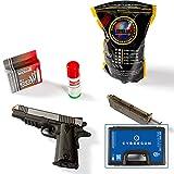 Cybergun Kit Replica Pistola Softair Colt 1911 Government Bicolore a Pallini a C02 Azione Singola, Scarrellante, Full Metal, Peso 976g, Caricatore da 17 + Valigetta Rigida. (Kit Completo)