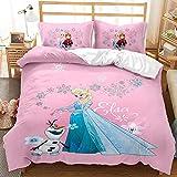 Disney Frozen - Juego de ropa de cama con diseño de Anna y Elsa Princesa, ropa de cama para niños y niñas, con funda de almohada (A-03,220 x 240 cm (50 x 75 cm)