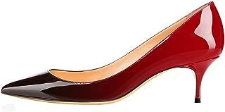 June in Love Womens Kitten Heels Short Slim Heel Shoes Pointy Toe Daily Heels Pumps