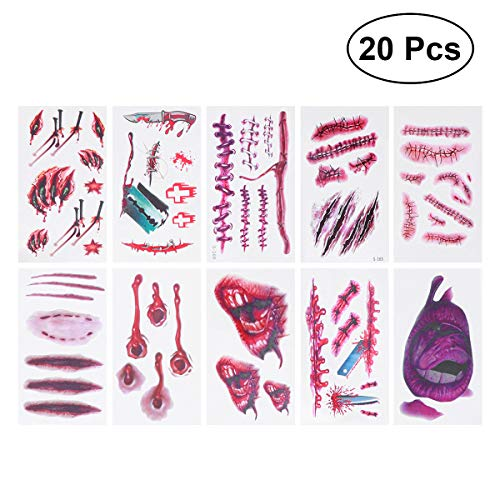 Frcolor 20pcs Scar Wound Healing Realistic Sticker Temporary Tattoo Stitch Scab Props for Halloween Masquerade Cosplay