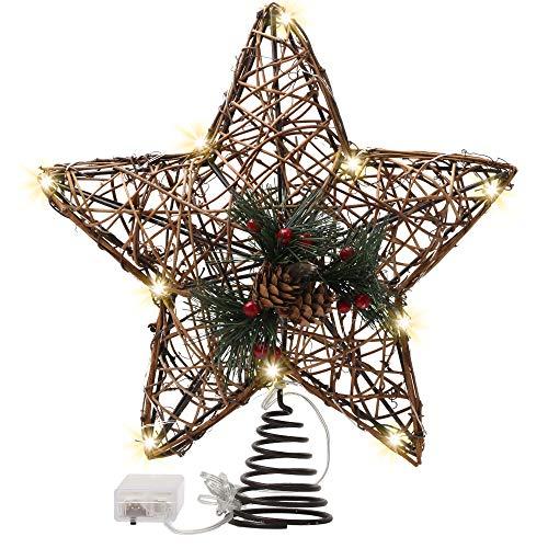 Valery Madelyn Puntale Albero Natale Legno, 28.2cm Woodland Rattan Star Pre-Illuminato con 10 Luci LED Calde e Pinecone Berry, a Batteria (Non Inclusa)