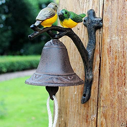 JJDSN Europa y los Estados Unidos Retro Creativo Hierro Fundido Doble pájaro Color Arte Manual Timbre de Pared Campana de Pared Columpio de Mano Timbre de Puerta