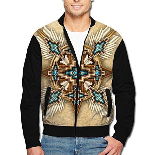 Native American Bead Cross Ethnic Classic Front-Zip Jacket Mans Coat Adult And Youthcoat Regular Big-Tall Coat