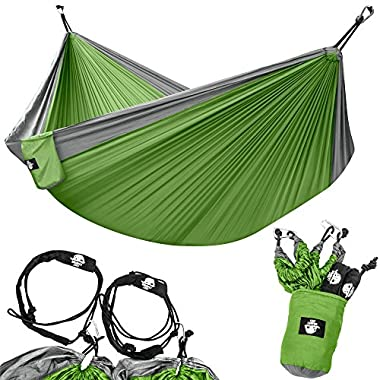 Legit Camping Double Hammock - Lightweight Parachute Portable Hammocks for Hiking, Travel, Backpacking, Beach, Yard Gear Includes Nylon Straps & Steel Carabiners (Graphite/Lime Green)