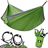Legit Camping - Double Hammock - Lightweight Parachute Portable Hammocks for Hiking, Travel, Backpacking, Beach, Yard Gear Includes Nylon Straps & Steel Carabiners (Graphite/Lime Green)