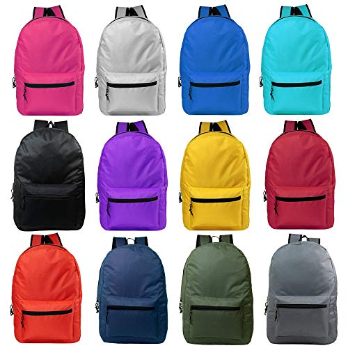 24 Pack - Classic 15 Inch Basic Wholesale Backpacks in 12 Assorted Colors - Bulk Case of Bookbags
