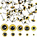 TOAOB 100 piezas de 3 mm a 12 mm Color Marrón con Ojos de Animales de Peluche de Cristal Redondo con Pasador de Acero para Marioneta DIY Artesanía Joyas