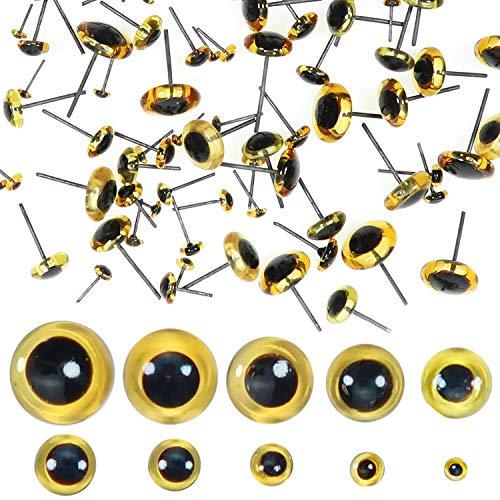 Toaob, 100 Stück, 3 mm bis 12 mm, braun, Puppenaugen aus Plüsch, Kristallglas, rund, mit Stahlstift für Handpuppe DIY Handwerk Schmuck