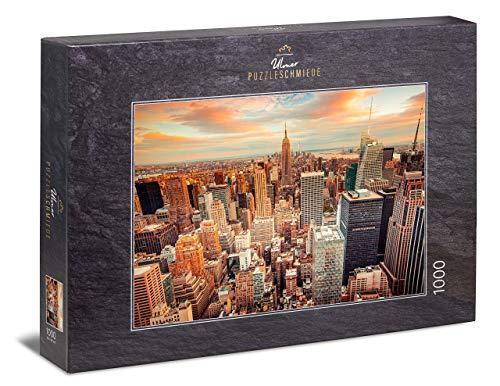 """Ulmer Puzzleschmiede - USA-Puzzle """"Manhattan""""– Klassisches 1000 Teile Puzzle – Puzzlemotiv von New York City mit Empire State Building und Skyline von Manhattan im Sonnenuntergang"""