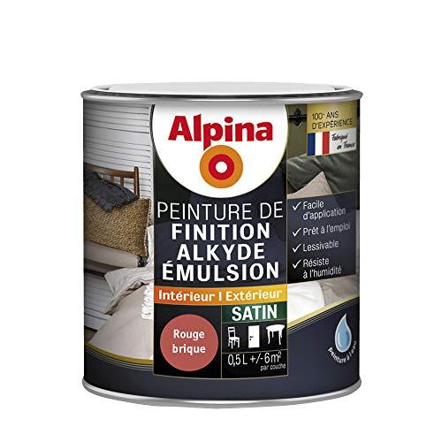 Alpina 952089 Peinture de Finition-Alkyde émulsion, Satin Rouge Brique