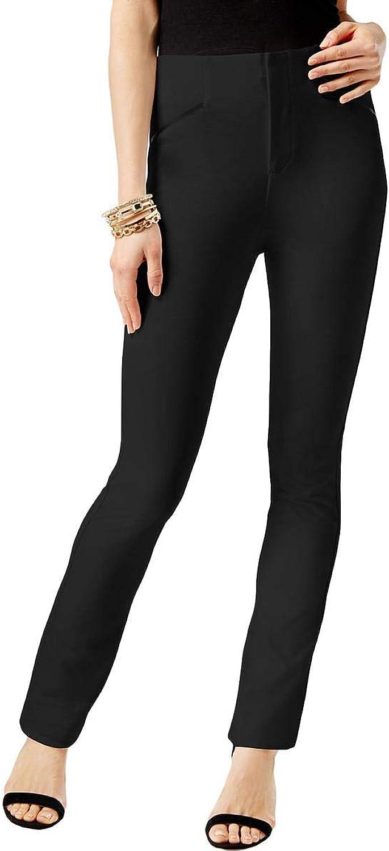 I.N.C. International Concepts Women's FauxLeatherTrim CurvyFit Pants (Deep Black, 2S)