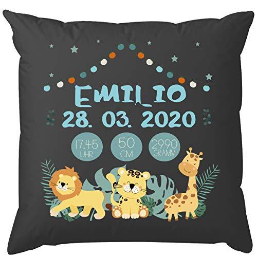 EZYshirt® Personalisiertes Kissen zur Geburt | mit niedlichen Safari Tieren | Kindern Kissen | Babygeschenk für Jungen und Mädchen