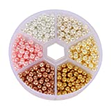 Gsyamh Redondo perlas de Imitación Con Caja Cuentas con Agujeros Decorativos Artesanales cuentas Decoración para Artículos de Decoración de Ropa Joyería Boda Familiar, Hermoso y Práctico (Color)