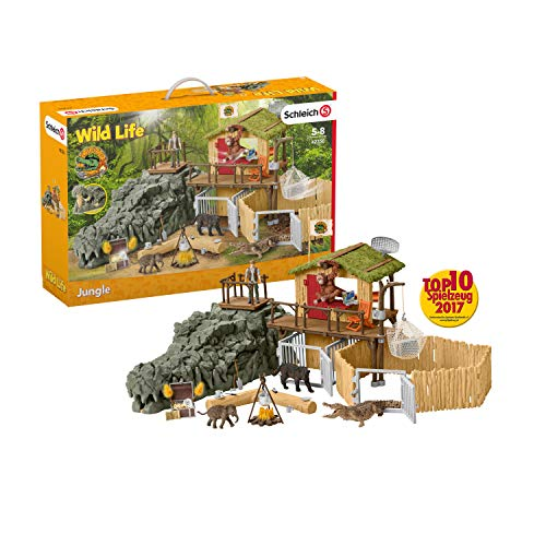 Schleich Wild Life Crocodile Jungle Research Station with Jungle Animals 69-piece Playset for Kids Ages 3-8