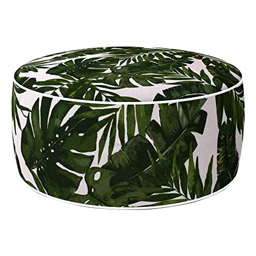 Aktive 79036 - Puff hinchable Ottoman, poliéster hilado, repele el agua, 53 x 23 cm, tropical verde oscuro