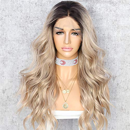 Sapphirewigs #4 Black Dark Roots Ombre Brown Color Women Gift Daily Makeup Fashion Blogger Celebrity Wedding Party Synthetic Lace Front Wigs