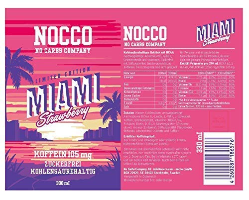 Nocco Bcaa Drink - Miami Strawberry (3 x 330ml)