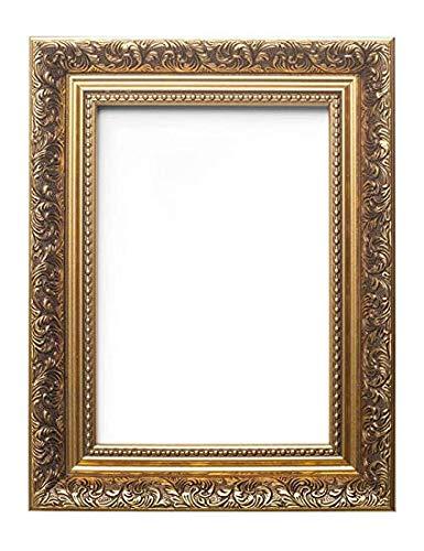 Memory Box Bilderrahmen im französischen Barockstil, kunstvoll verziert, antiker Stil, mit Echtglas, Rahmenleiste, 58 mm breit und 38 mm tief, 30,5 x 25,4 cm, goldfarben