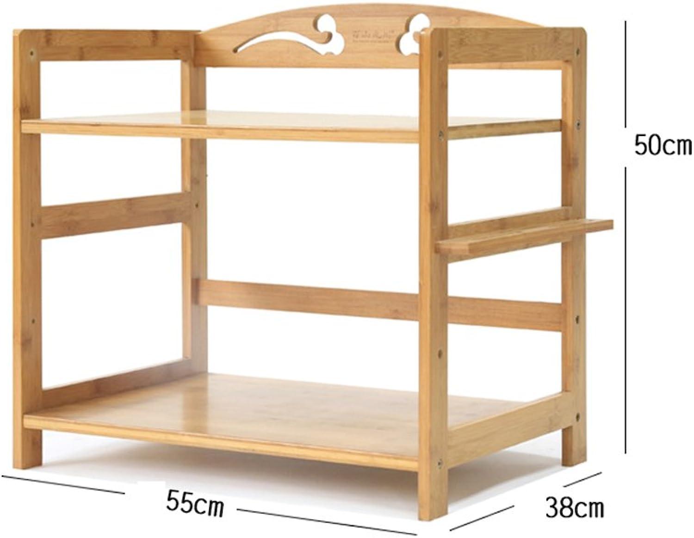 Shelf Microwave Rack Kitchen Floor Bamboo Solid Wood Shelf Storage Shelf Simple Shelf Three-Storey Shelf -by TIANTA (Size   50  38  55cm)