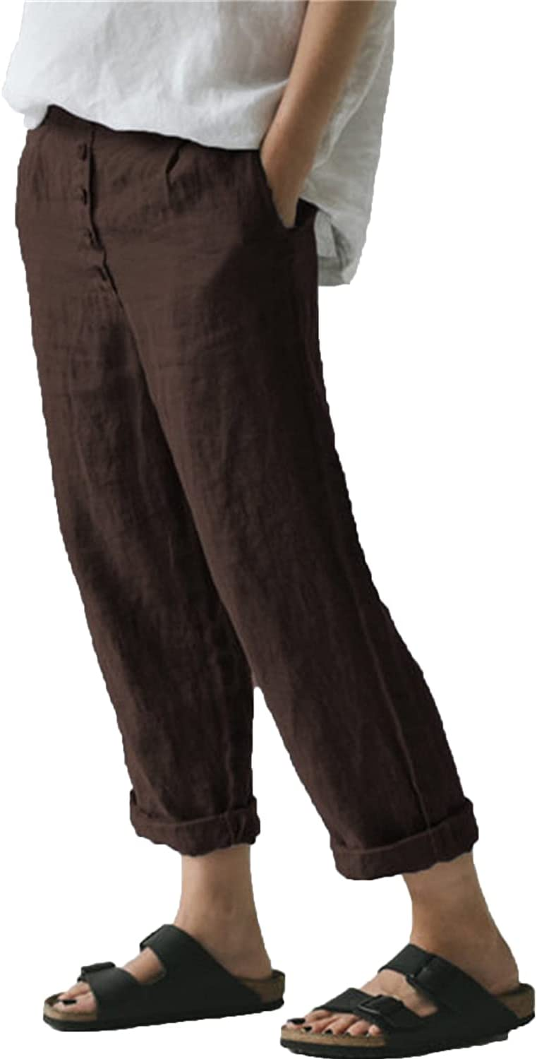 Women's Casual Linen Straight Leg Pants Flax Relaxed-Fit Elastic High Waist Casualpants Lady Beach Pockets Trousers (Medium,Brown)