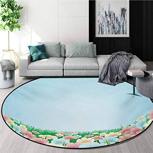 Best Bargain RUGSMAT Garden Carpet Gray Round Area Rug,Curvy Fresh Meadow with Pastel Colored Daisie...