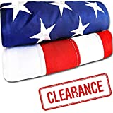 American Flag - Heavy-Duty US Flag - Embroidered Stars - Nylon USA Flag Built for Outdoors - Sewn Stripes - UV Protection - Brass Grommets (4x6 ft)