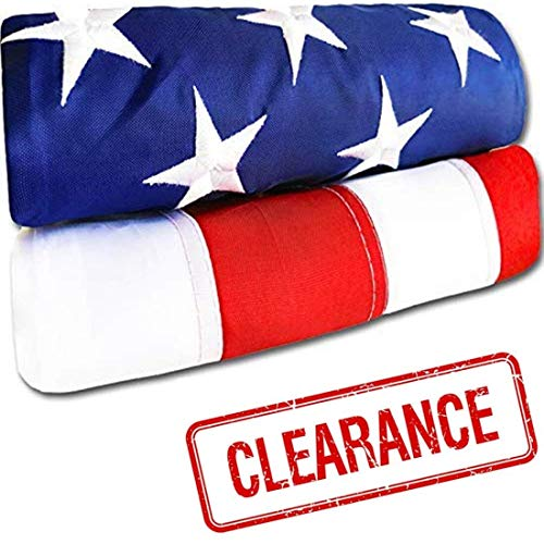 American Flag - Heavy-Duty US Flag - Embroidered Stars - Nylon USA Flag Built for Outdoors - Sewn Stripes - UV Protection - Brass Grommets (3x5 ft)
