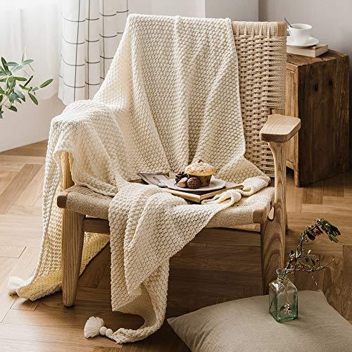 MHMYLUNEHOME毛布ニットブランケット小さめ北欧掛け毛布大判防寒かわいいひざ掛け通年使用暖かい無地肩掛けフリンジ付きベッドスロー(70cm*100cm)