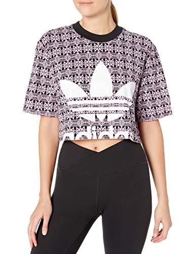 adidas Originals Women's All Over Print Tee Crop Magic Berry/Black Small