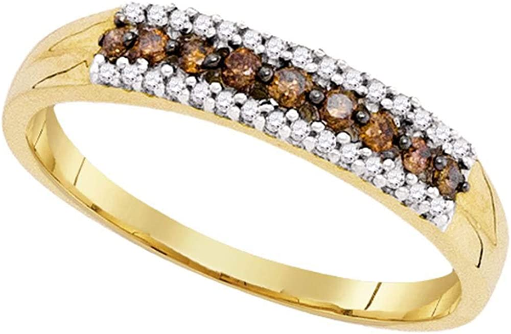 Dazzlingrock Collection 10kt Yellow Gold Womens Round Brown Diamond Band Ring 1/5 ctw