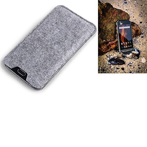 K-S-Trade Filz Schutz Hülle für Caterpillar Cat S31 Schutzhülle Filztasche Filz Tasche Case Sleeve Handyhülle Filzhülle grau