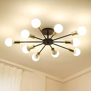 Dellemade Sputnik - Lámpara de araña de 10 luces en estilo antiguo, para comedor, salón, cocina, oficina, cafetería, restaurante, color negro