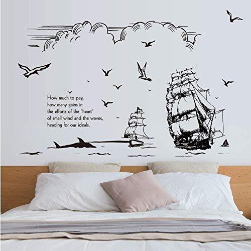 YAZCC Schwarzweiss-Hand gezeichnete Skizze Segelschiff Silhouette Wandaufkleber Ozean Himmel Wolke Vogel Wohnzimmer Büro Wanddekoration Aufkleber