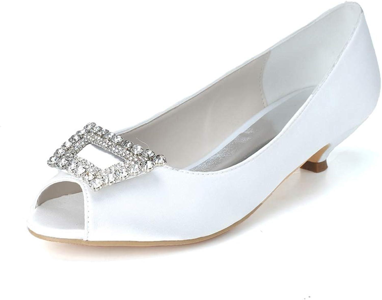 Frauen Für Hochzeit Flache Schuhe Satin Peep Toes Low Heel Gre 35-42 Pumps Kleid Braut Party Strass 3,5 cm Ferse