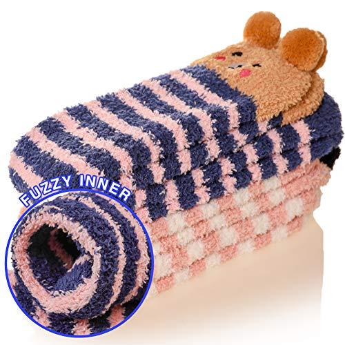 Children Fuzzy Knee High Stockings Animal Kids Boy Girls Christmas Holiday Slipper Home Socks 2 Pairs (Animal E)