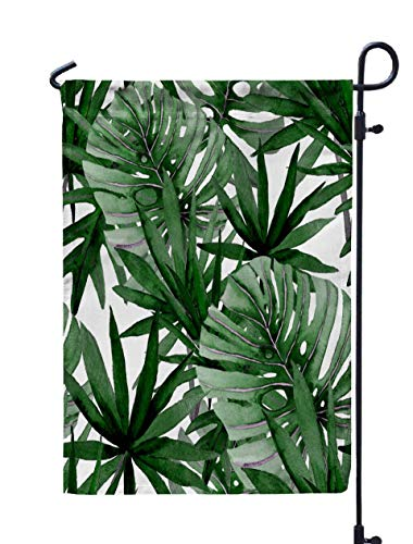UIJDIAm Welcome Outdoor Garden Flag Home Yard Decorative 12X18 inches Watercolor Pattern Tropical Leaves Palms Monstera Passion Fruit Beautiful Print Exotic Plants Double Sided Seasonal Garden Flags