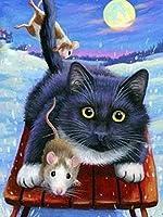 5Dダイヤモンドペインティングアートフルドリルセット、5D猫動物写真ダイヤモンドペインティングクロスステッチキットホームルームデコレーションクリスマスギフトスクエア40×50cm