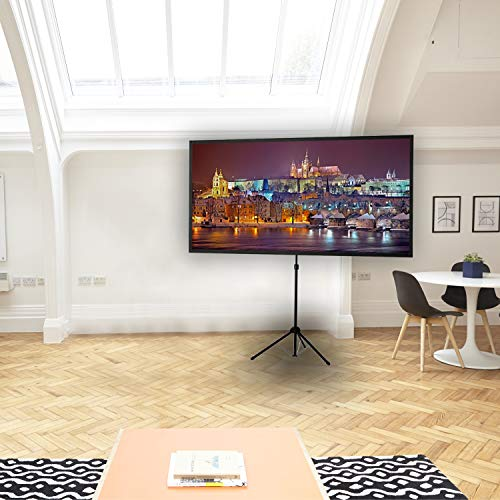 """celexon portable, light and mobile projector tripod screen with height-adjustable telescopic pole Ultra-lightweight - 177 x 100 cm - 80"""" - 16:9"""