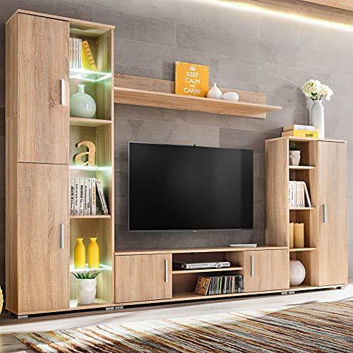 Wohnwand Set Wohnzimmerschrank Schrankwand mit LED-Leuchten TV Stand Seitenschränk Regal Ausstellungsregal für Wohnzimmer Zuhause,Sonoma Eiche【DE Lager】