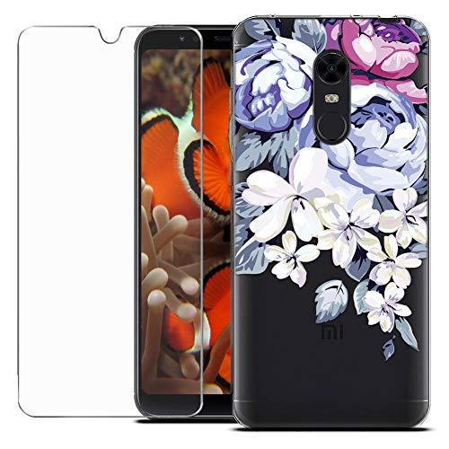 MadBee Coque Compatible avec Xiaomi Redmi 5 Plus/Redmi Note 5 [avec Verre Trempé],Motif Design Silicone Transparente Ultra Mince TPU Souple Housse Etui de Protection Anti Rayures (Fleur 2)