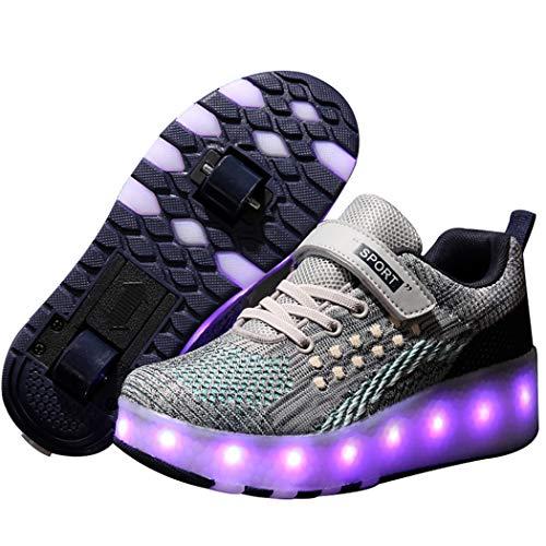 Good-time Kinder Junge Mädchen Led Schuhe Sneaker Mit Rollen 7 Farbe Farbwechsel Wheels Skate Schuhe(Doppelrad-Weiß Grau Blau,29 EU)